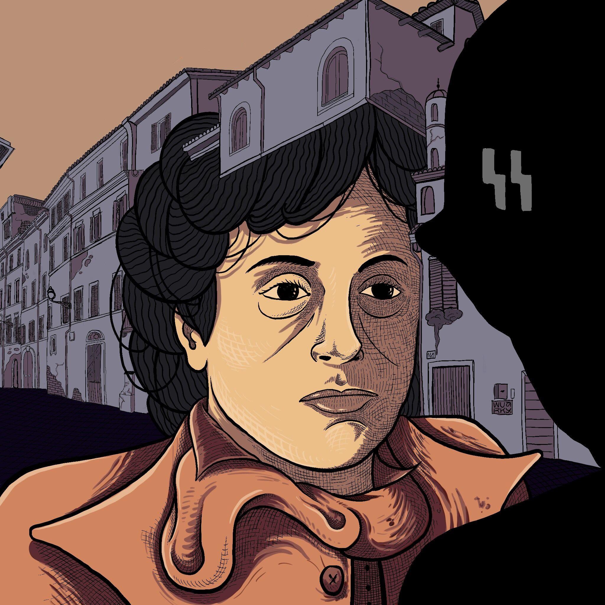 Roma città aperta, nella nostra rubrica La Roma del Cinema, in una scena illustrata da Wuarky