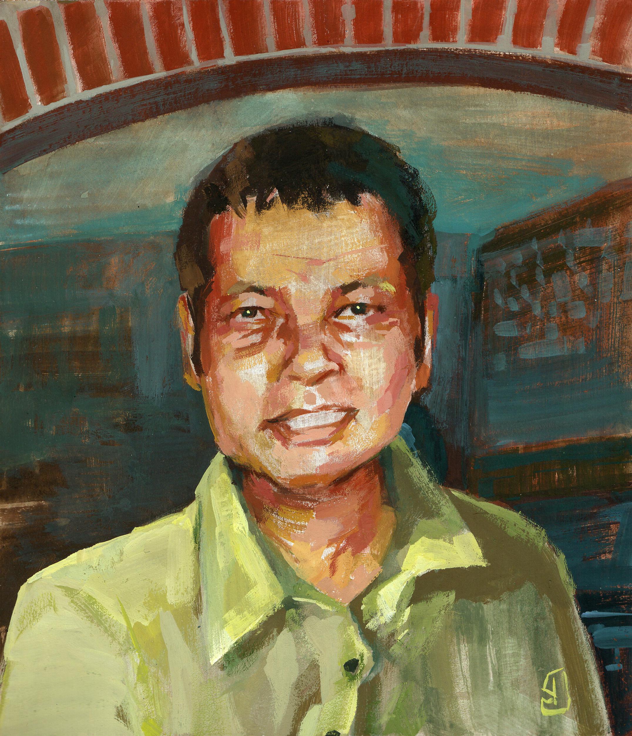 Fahrid Sarkir, venditore ambulante Bangla, nonché uno dei nostri trasteverini illustrato da Giuseppe Maggiore