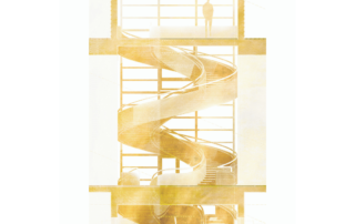 la scala elicoidale di WeGil interpretata dall'architetto Davide Giambelli